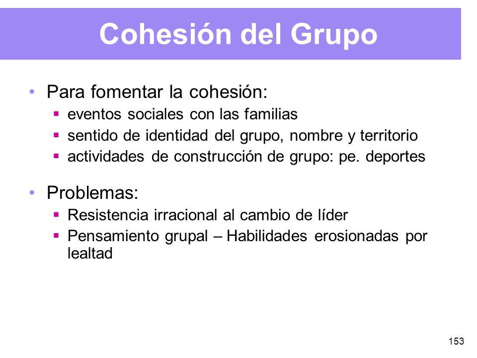 153 Cohesión del Grupo Para fomentar la cohesión: eventos sociales con las familias sentido de identidad del grupo, nombre y territorio actividades de construcción de grupo: pe.