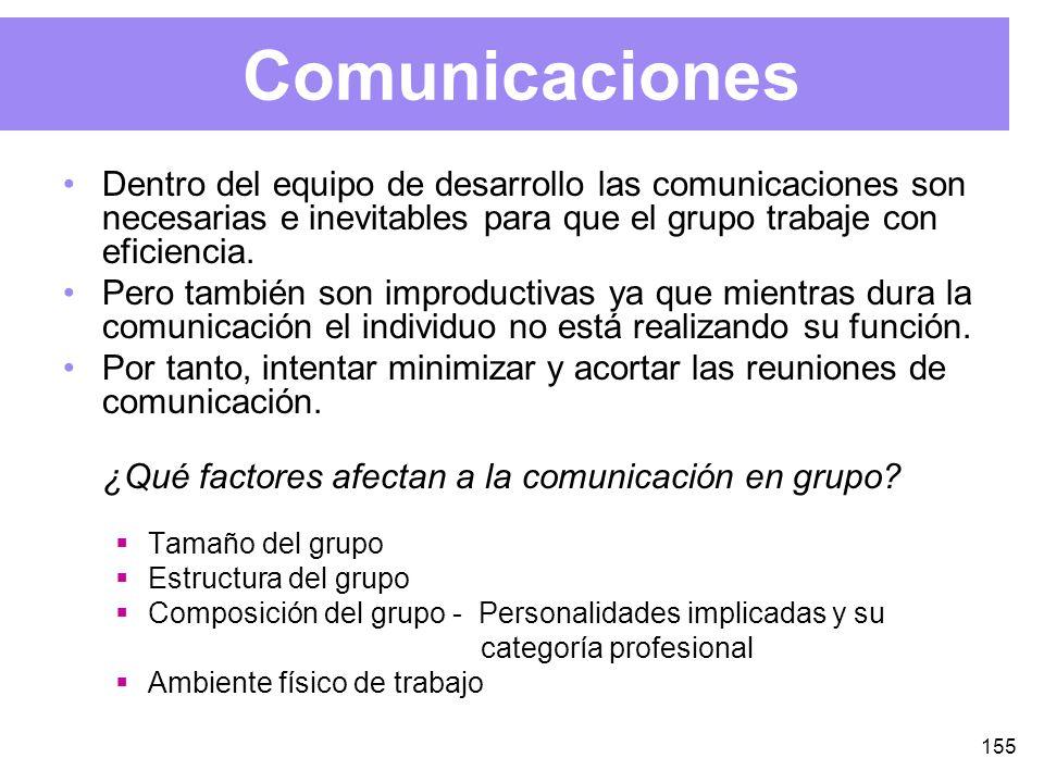 155 Comunicaciones Dentro del equipo de desarrollo las comunicaciones son necesarias e inevitables para que el grupo trabaje con eficiencia.