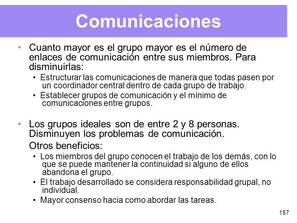 157 Comunicaciones Cuanto mayor es el grupo mayor es el número de enlaces de comunicación entre sus miembros.
