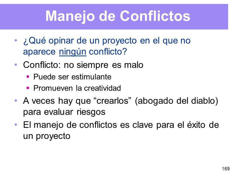 169 Manejo de Conflictos ¿Qué opinar de un proyecto en el que no aparece ningún conflicto.