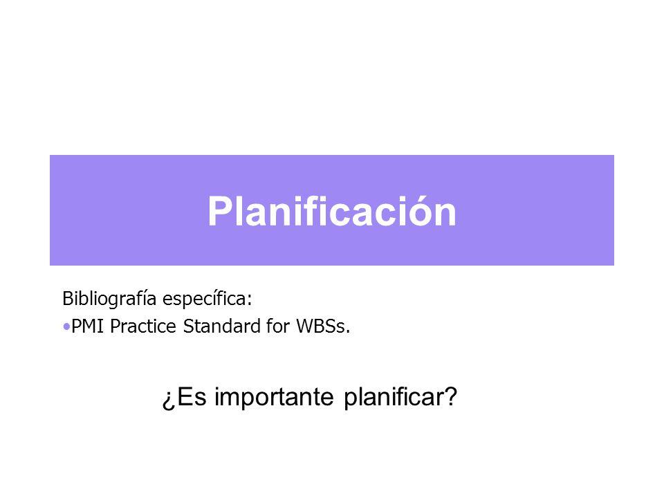 Planificación Bibliografía específica: PMI Practice Standard for WBSs. ¿Es importante planificar?