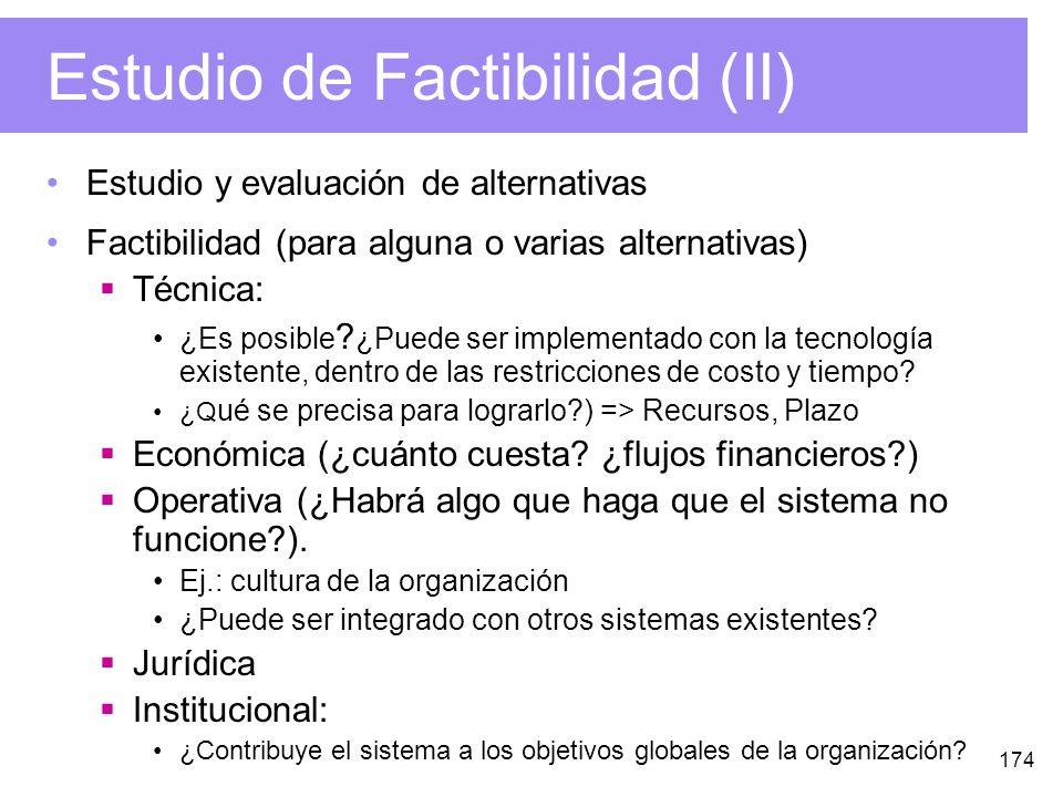 174 Estudio de Factibilidad (II) Estudio y evaluación de alternativas Factibilidad (para alguna o varias alternativas) Técnica: ¿Es posible .