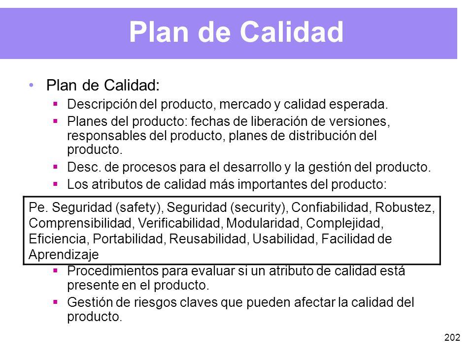 202 Plan de Calidad Plan de Calidad: Descripción del producto, mercado y calidad esperada.