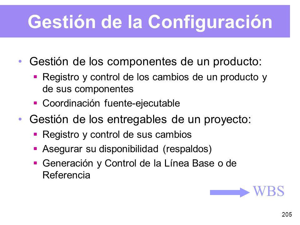 205 Gestión de la Configuración WBS Gestión de los componentes de un producto: Registro y control de los cambios de un producto y de sus componentes Coordinación fuente-ejecutable Gestión de los entregables de un proyecto: Registro y control de sus cambios Asegurar su disponibilidad (respaldos) Generación y Control de la Línea Base o de Referencia