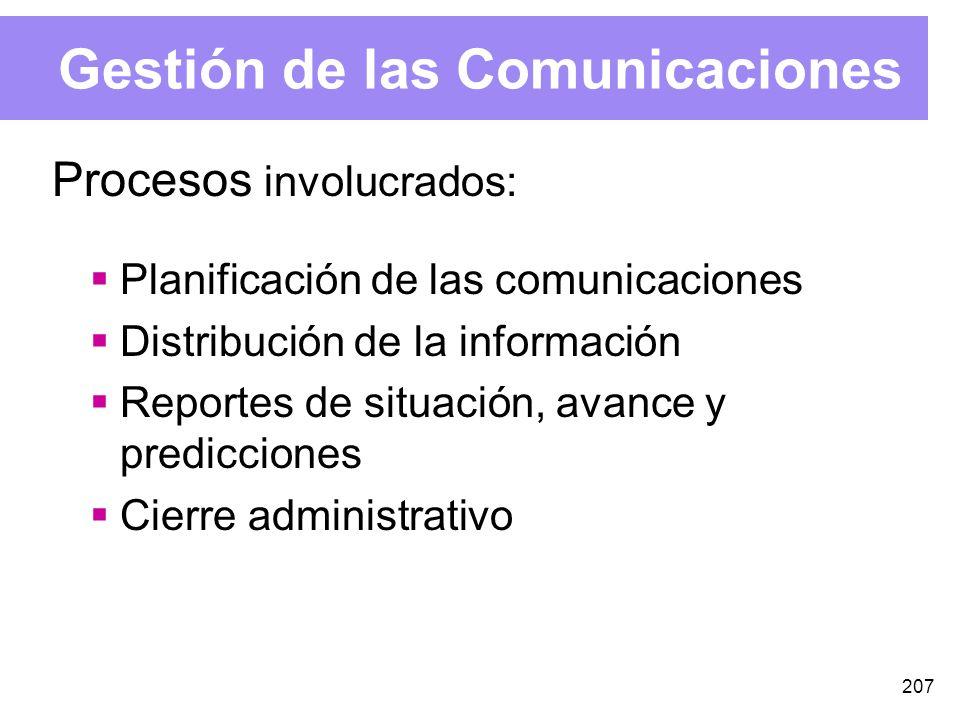 207 Gestión de las Comunicaciones Procesos involucrados: Planificación de las comunicaciones Distribución de la información Reportes de situación, avance y predicciones Cierre administrativo