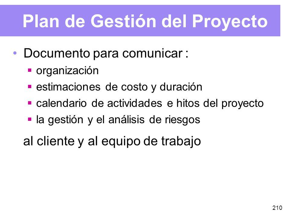 210 Plan de Gestión del Proyecto Documento para comunicar : organización estimaciones de costo y duración calendario de actividades e hitos del proyecto la gestión y el análisis de riesgos al cliente y al equipo de trabajo