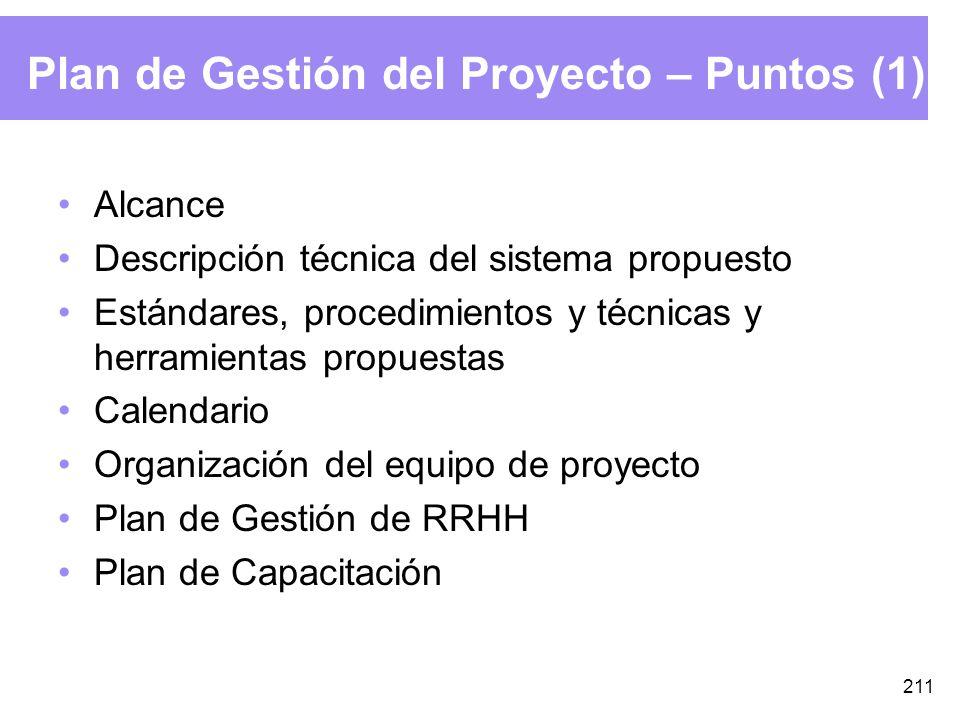 211 Plan de Gestión del Proyecto – Puntos (1) Alcance Descripción técnica del sistema propuesto Estándares, procedimientos y técnicas y herramientas propuestas Calendario Organización del equipo de proyecto Plan de Gestión de RRHH Plan de Capacitación