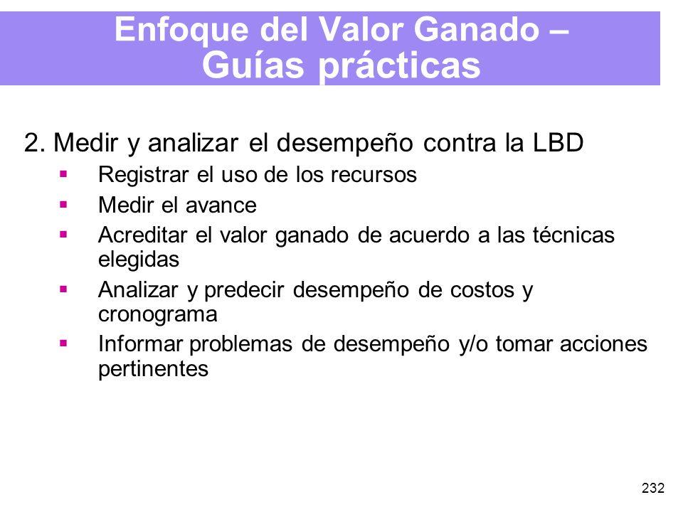 232 Enfoque del Valor Ganado – Guías prácticas 2.