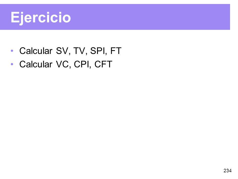 234 Ejercicio Calcular SV, TV, SPI, FT Calcular VC, CPI, CFT