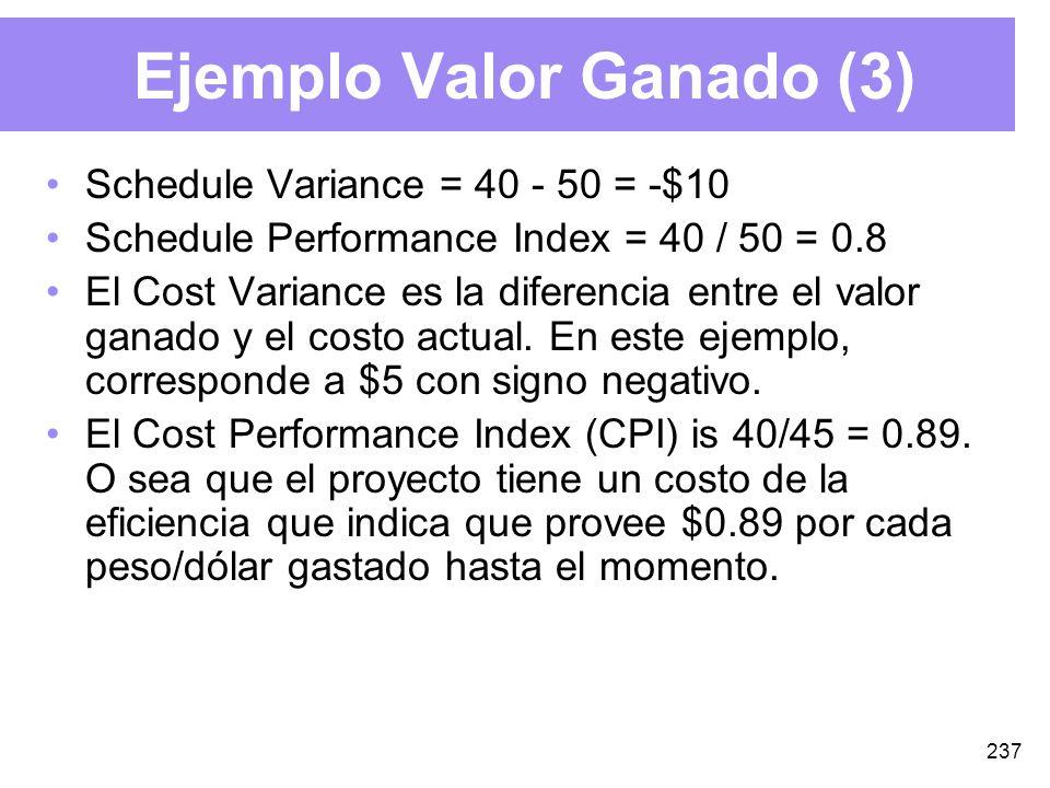 237 Ejemplo Valor Ganado (3) Schedule Variance = 40 - 50 = -$10 Schedule Performance Index = 40 / 50 = 0.8 El Cost Variance es la diferencia entre el valor ganado y el costo actual.