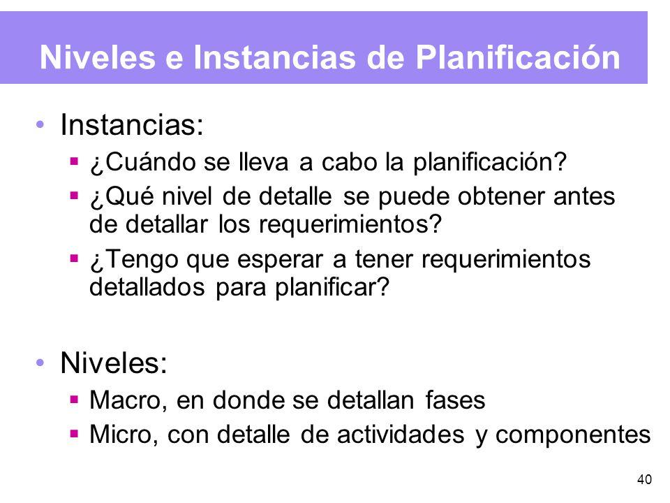 40 Niveles e Instancias de Planificación Instancias: ¿Cuándo se lleva a cabo la planificación.