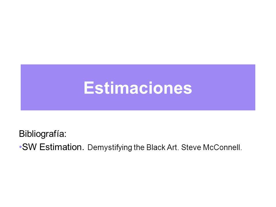Estimaciones Bibliografía: SW Estimation. Demystifying the Black Art. Steve McConnell.
