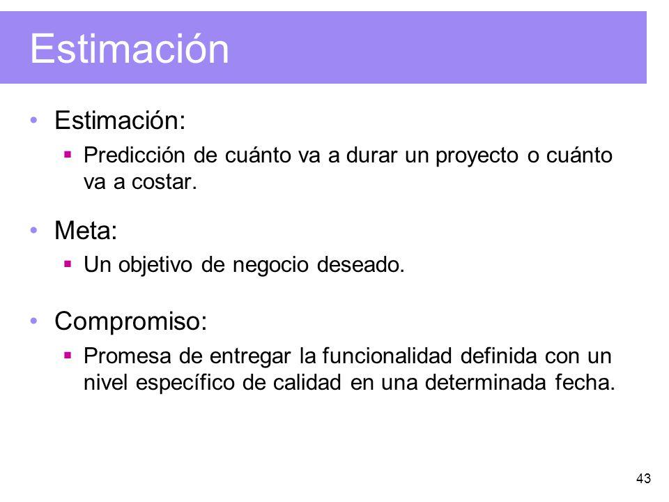 43 Estimación Estimación: Predicción de cuánto va a durar un proyecto o cuánto va a costar.