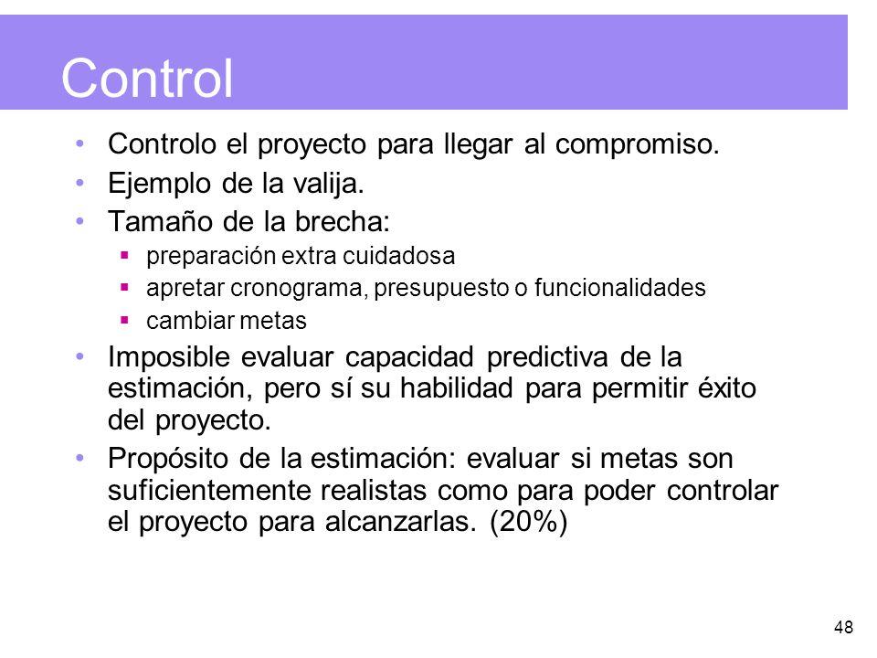48 Control Controlo el proyecto para llegar al compromiso.