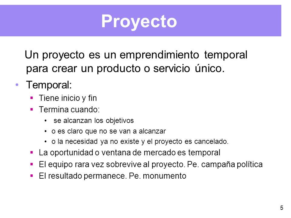 5 Proyecto Un proyecto es un emprendimiento temporal para crear un producto o servicio único.