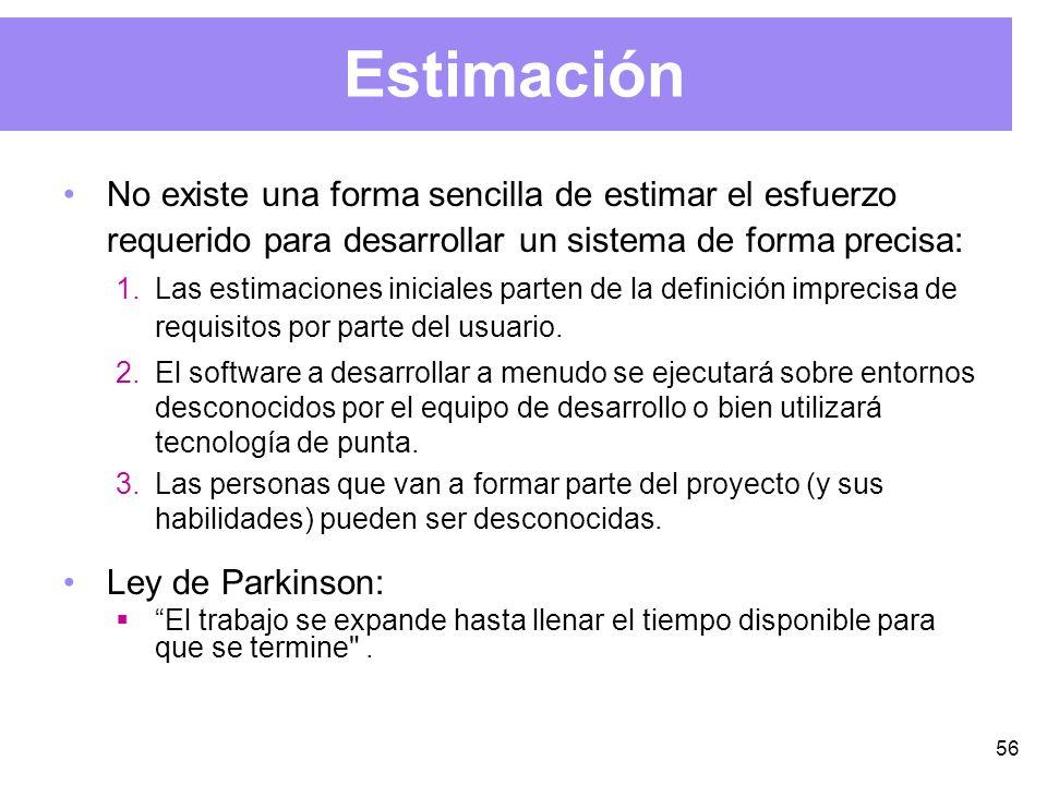 56 Estimación No existe una forma sencilla de estimar el esfuerzo requerido para desarrollar un sistema de forma precisa: 1.Las estimaciones iniciales parten de la definición imprecisa de requisitos por parte del usuario.