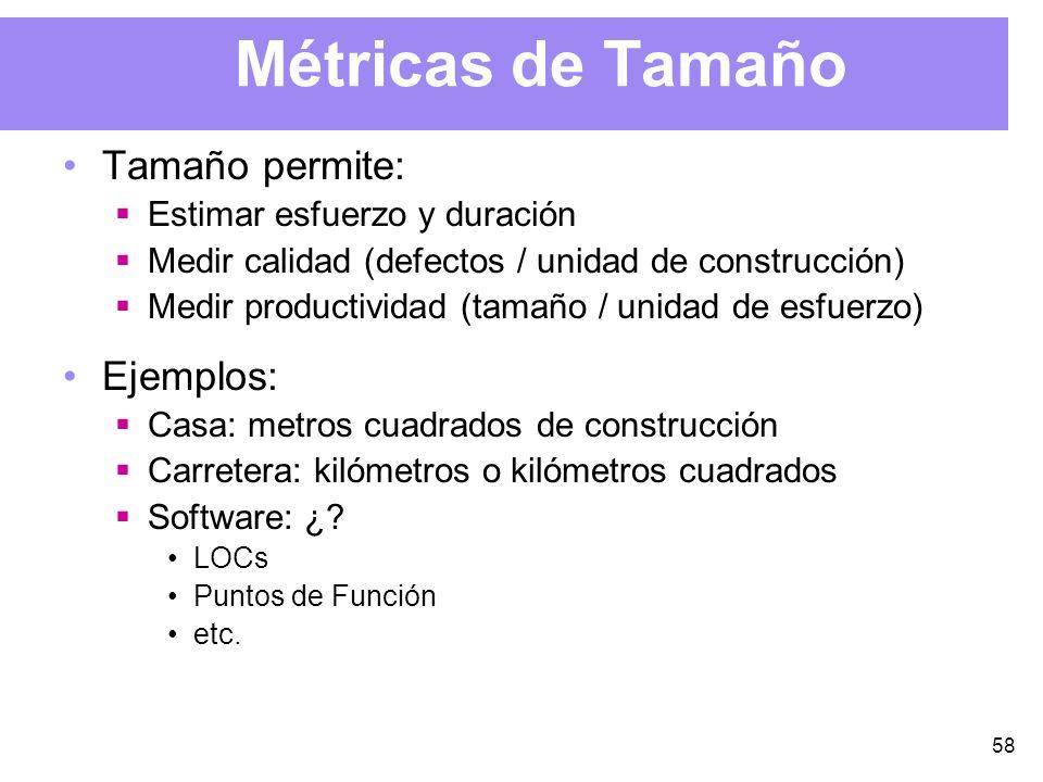 58 Métricas de Tamaño Tamaño permite: Estimar esfuerzo y duración Medir calidad (defectos / unidad de construcción) Medir productividad (tamaño / unidad de esfuerzo) Ejemplos: Casa: metros cuadrados de construcción Carretera: kilómetros o kilómetros cuadrados Software: ¿.