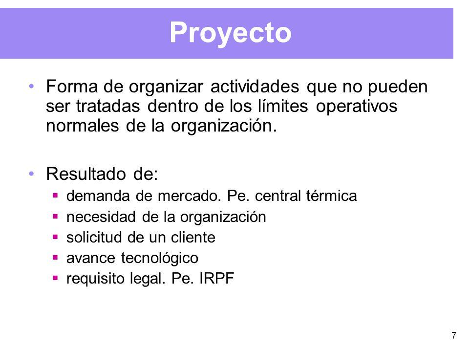7 Proyecto Forma de organizar actividades que no pueden ser tratadas dentro de los límites operativos normales de la organización.