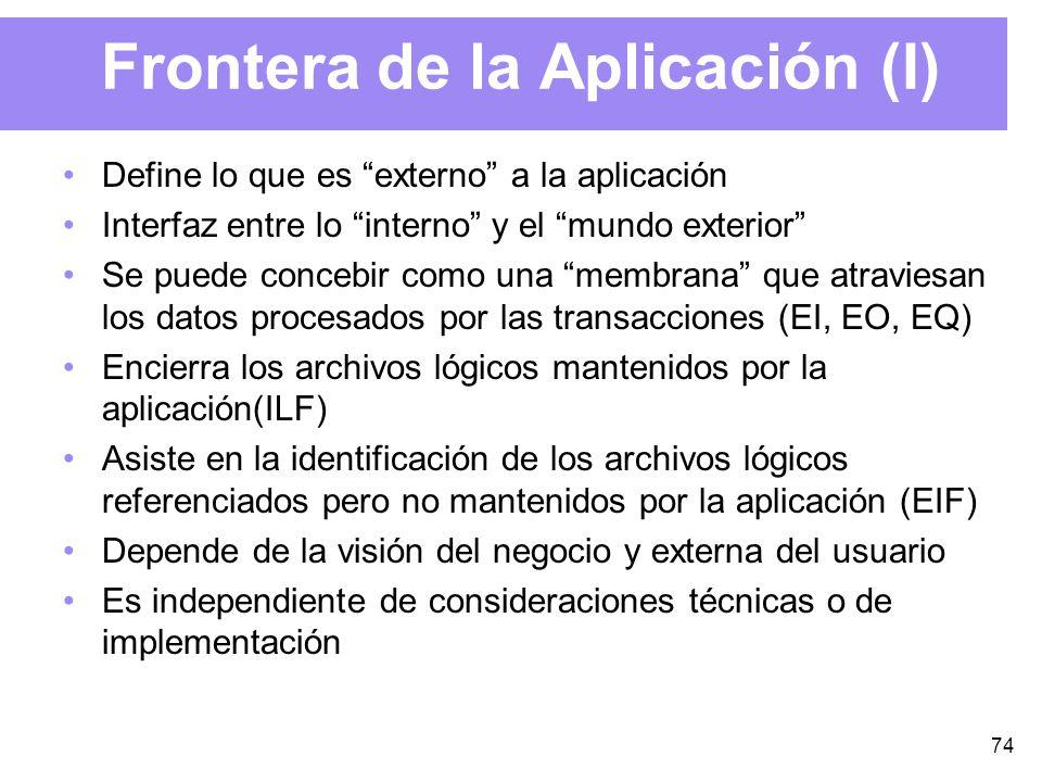 74 Frontera de la Aplicación (I) Define lo que es externo a la aplicación Interfaz entre lo interno y el mundo exterior Se puede concebir como una membrana que atraviesan los datos procesados por las transacciones (EI, EO, EQ) Encierra los archivos lógicos mantenidos por la aplicación(ILF) Asiste en la identificación de los archivos lógicos referenciados pero no mantenidos por la aplicación (EIF) Depende de la visión del negocio y externa del usuario Es independiente de consideraciones técnicas o de implementación