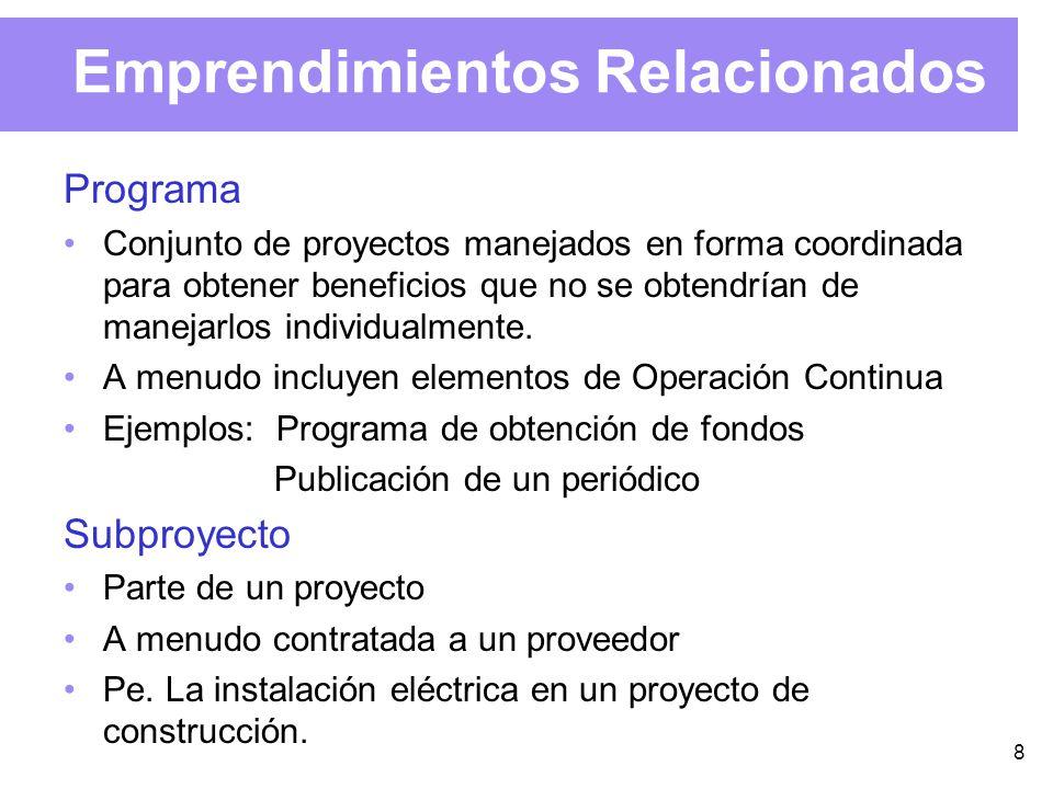 8 Emprendimientos Relacionados Programa Conjunto de proyectos manejados en forma coordinada para obtener beneficios que no se obtendrían de manejarlos individualmente.