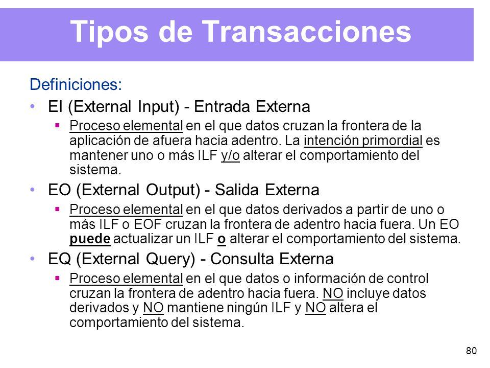 80 Tipos de Transacciones Definiciones: EI (External Input) - Entrada Externa Proceso elemental en el que datos cruzan la frontera de la aplicación de afuera hacia adentro.