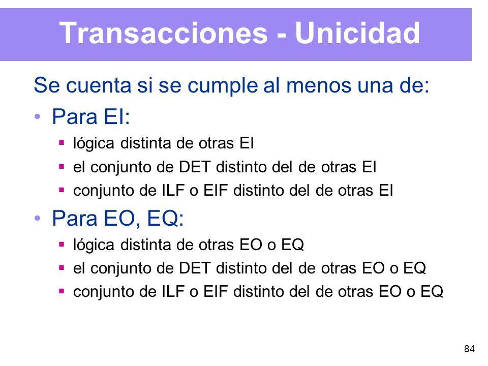 84 Transacciones - Unicidad Se cuenta si se cumple al menos una de: Para EI: lógica distinta de otras EI el conjunto de DET distinto del de otras EI conjunto de ILF o EIF distinto del de otras EI Para EO, EQ: lógica distinta de otras EO o EQ el conjunto de DET distinto del de otras EO o EQ conjunto de ILF o EIF distinto del de otras EO o EQ