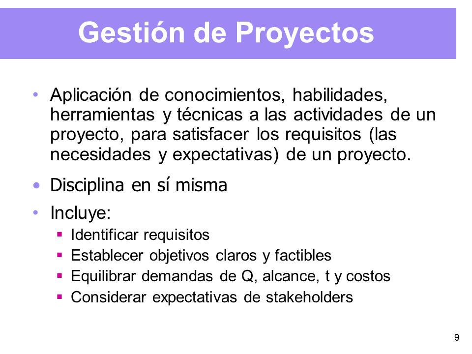9 Gestión de Proyectos Aplicación de conocimientos, habilidades, herramientas y técnicas a las actividades de un proyecto, para satisfacer los requisitos (las necesidades y expectativas) de un proyecto.