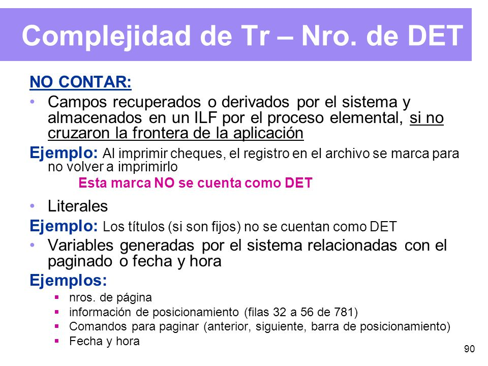 90 Complejidad de Tr – Nro.