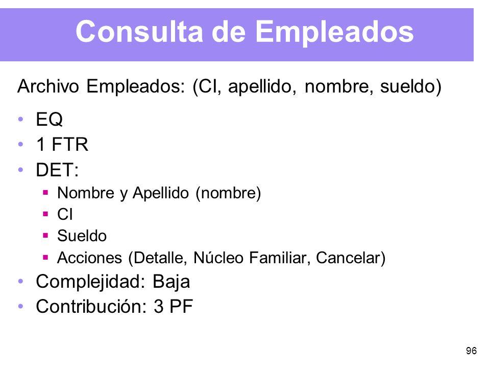 96 Consulta de Empleados Archivo Empleados: (CI, apellido, nombre, sueldo) EQ 1 FTR DET: Nombre y Apellido (nombre) CI Sueldo Acciones (Detalle, Núcleo Familiar, Cancelar) Complejidad: Baja Contribución: 3 PF