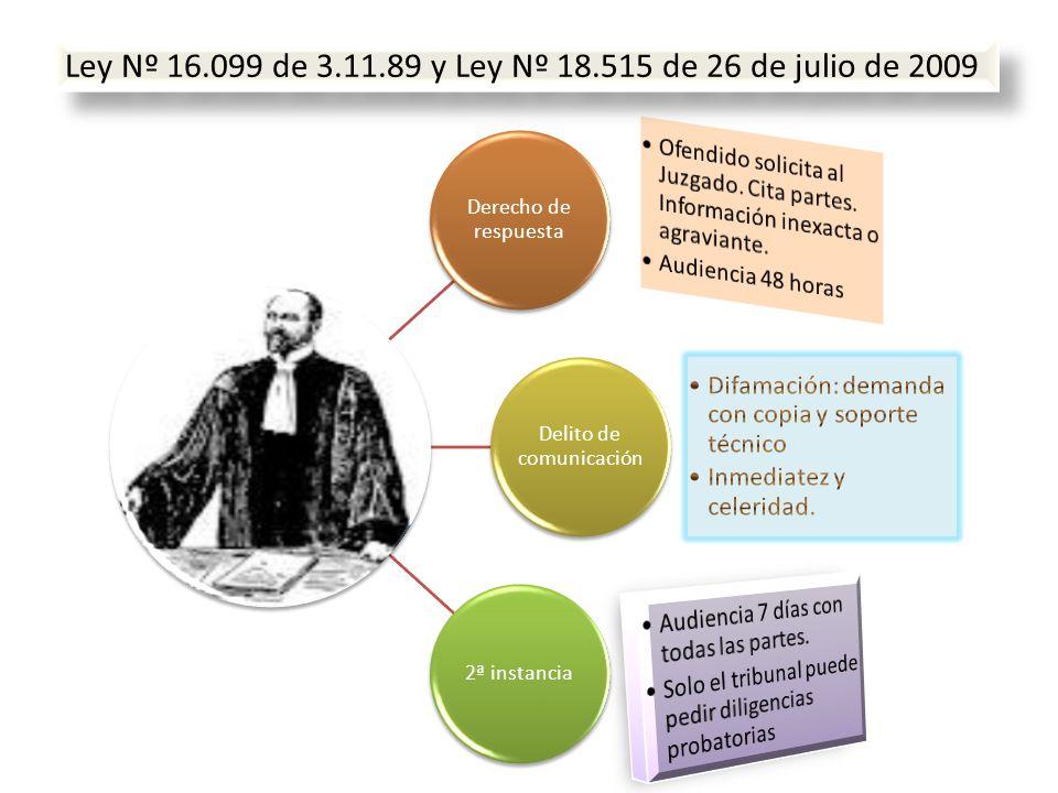 Derecho de respuesta Delito de comunicación 2ª instancia Ley Nº 16.099 de 3.11.89 y Ley Nº 18.515 de 26 de julio de 2009