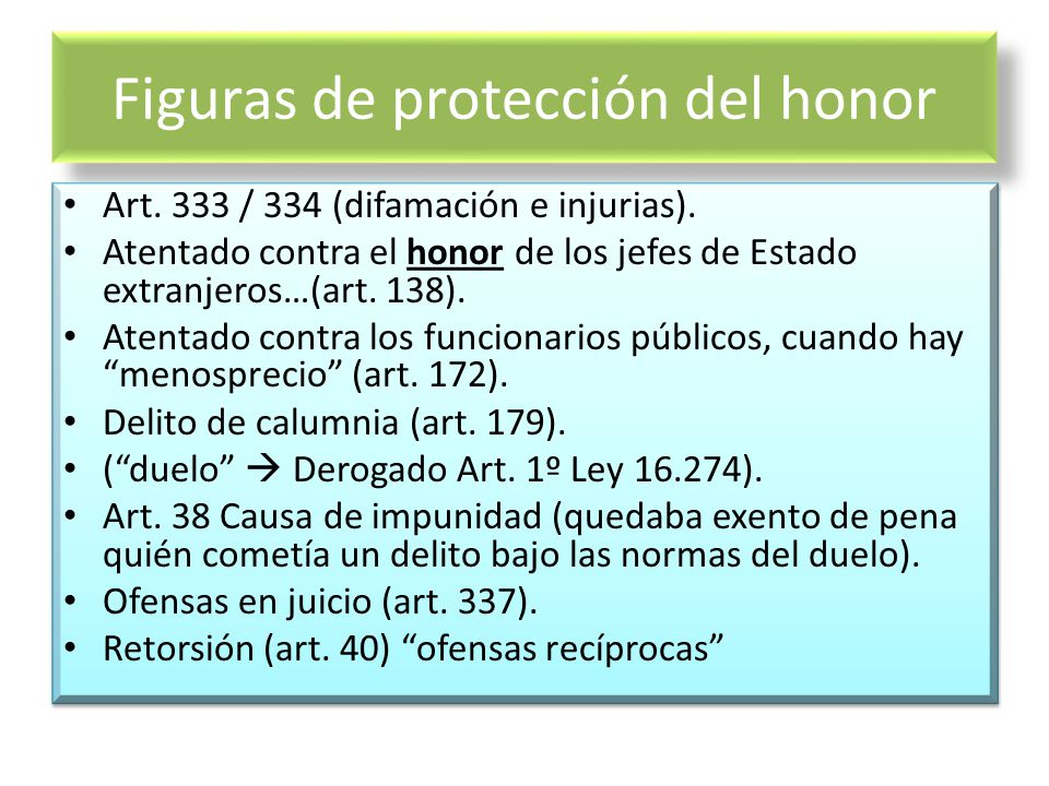 Figuras de protección del honor Art. 333 / 334 (difamación e injurias). Atentado contra el honor de los jefes de Estado extranjeros…(art. 138). Atenta