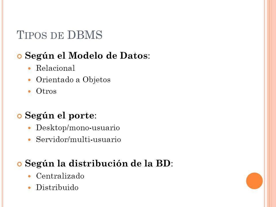 T IPOS DE DBMS Según el Modelo de Datos : Relacional Orientado a Objetos Otros Según el porte : Desktop/mono-usuario Servidor/multi-usuario Según la distribución de la BD : Centralizado Distribuido