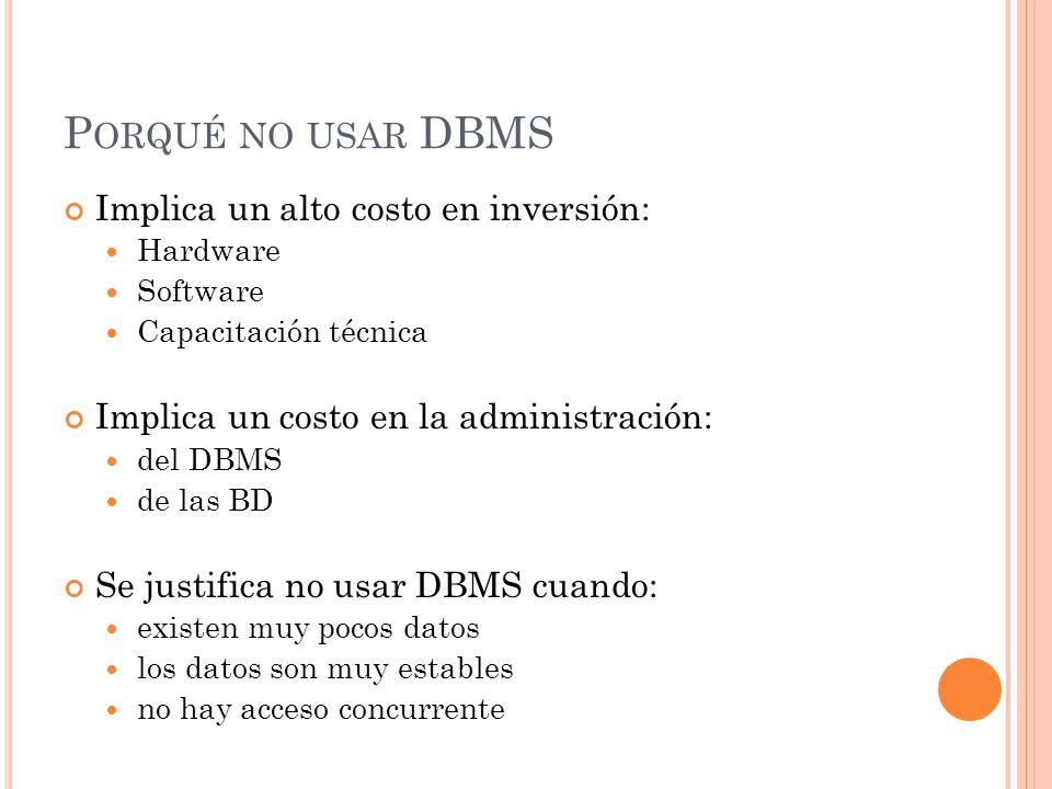 P ORQUÉ NO USAR DBMS Implica un alto costo en inversión: Hardware Software Capacitación técnica Implica un costo en la administración: del DBMS de las BD Se justifica no usar DBMS cuando: existen muy pocos datos los datos son muy estables no hay acceso concurrente