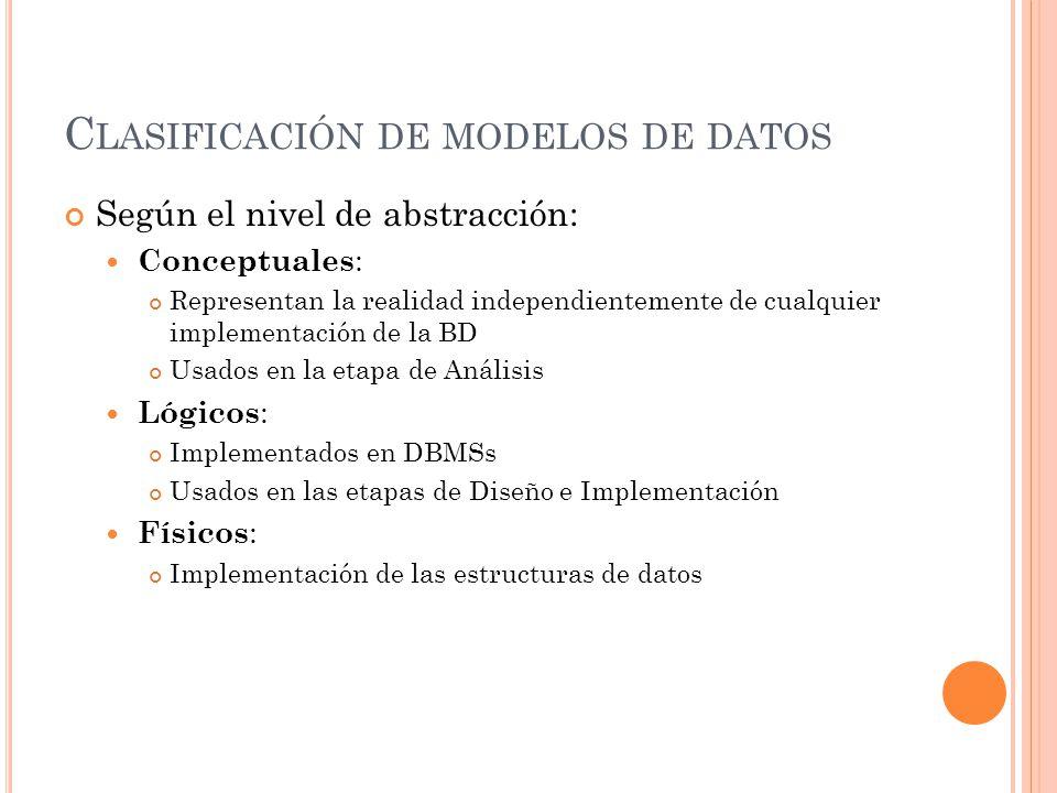 C LASIFICACIÓN DE MODELOS DE DATOS Según el nivel de abstracción: Conceptuales : Representan la realidad independientemente de cualquier implementación de la BD Usados en la etapa de Análisis Lógicos : Implementados en DBMSs Usados en las etapas de Diseño e Implementación Físicos : Implementación de las estructuras de datos