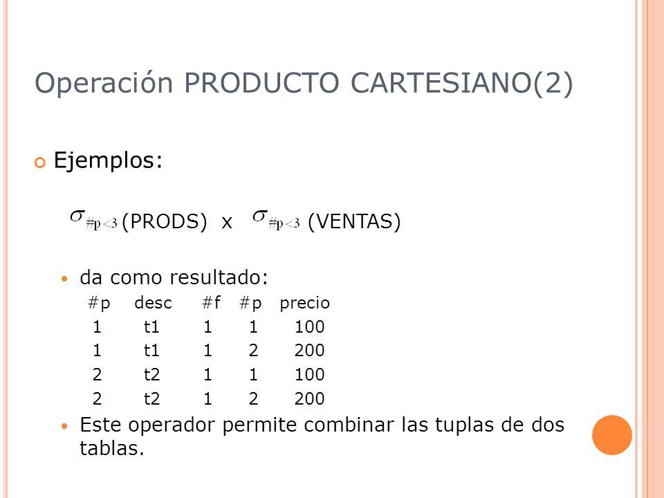 Operación PRODUCTO CARTESIANO(2) Ejemplos: (PRODS) x (VENTAS) da como resultado: #p desc #f #p precio 1 t1 1 1 100 1 t1 1 2 200 2 t2 1 1 100 2 t2 1 2 200 Este operador permite combinar las tuplas de dos tablas.