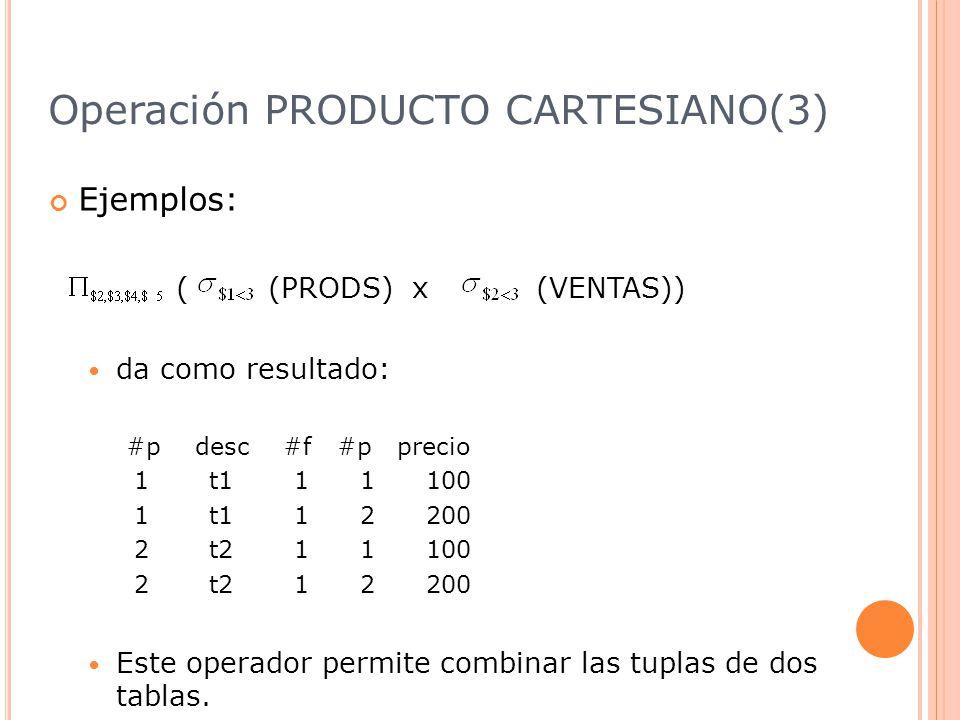 Operación PRODUCTO CARTESIANO(3) Ejemplos: ( (PRODS) x (VENTAS)) da como resultado: #p desc #f #p precio 1 t1 1 1 100 1 t1 1 2 200 2 t2 1 1 100 2 t2 1 2 200 Este operador permite combinar las tuplas de dos tablas.