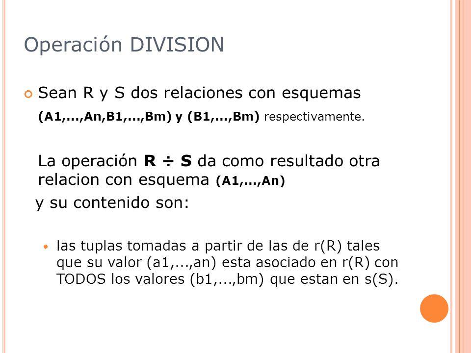 Operación DIVISION Sean R y S dos relaciones con esquemas (A1,...,An,B1,...,Bm) y (B1,...,Bm) respectivamente.