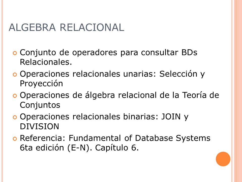 ALGEBRA RELACIONAL Conjunto de operadores para consultar BDs Relacionales.