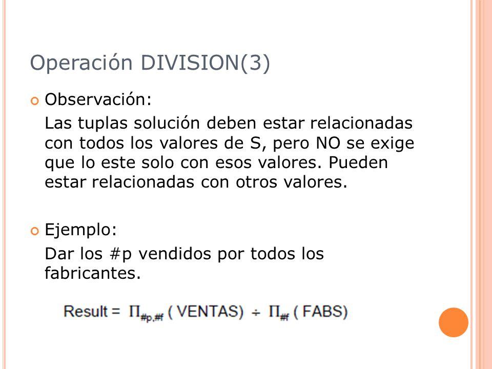 Operación DIVISION(3) Observación: Las tuplas solución deben estar relacionadas con todos los valores de S, pero NO se exige que lo este solo con esos valores.
