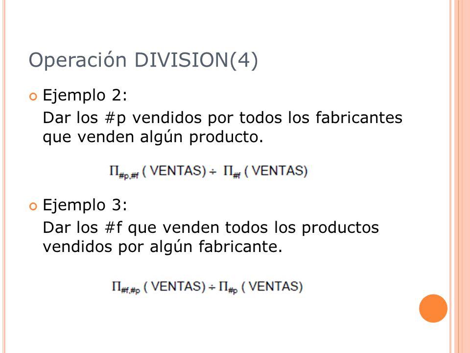 Operación DIVISION(4) Ejemplo 2: Dar los #p vendidos por todos los fabricantes que venden algún producto.