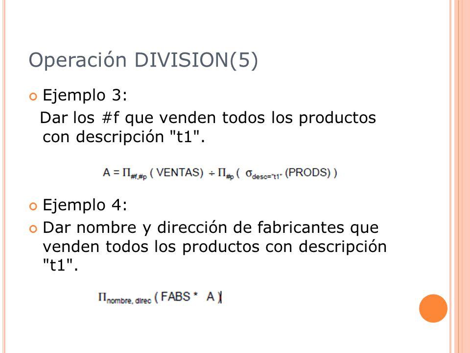Operación DIVISION(5) Ejemplo 3: Dar los #f que venden todos los productos con descripción t1 .