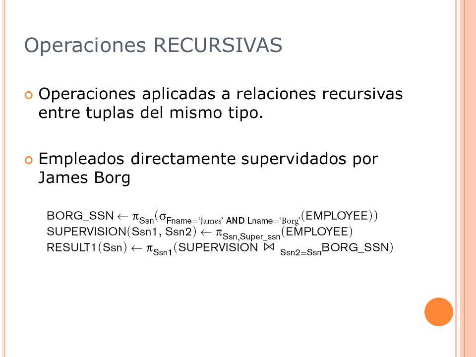 Operaciones RECURSIVAS Operaciones aplicadas a relaciones recursivas entre tuplas del mismo tipo.