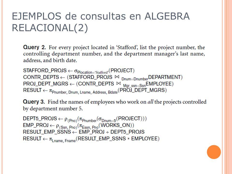EJEMPLOS de consultas en ALGEBRA RELACIONAL(2)