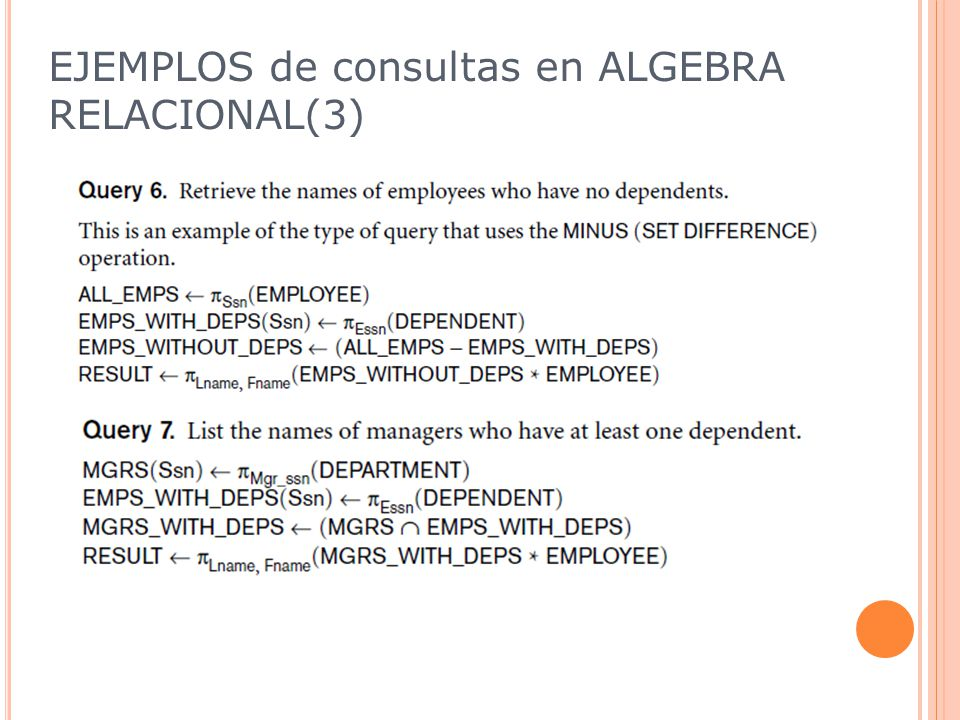 EJEMPLOS de consultas en ALGEBRA RELACIONAL(3)