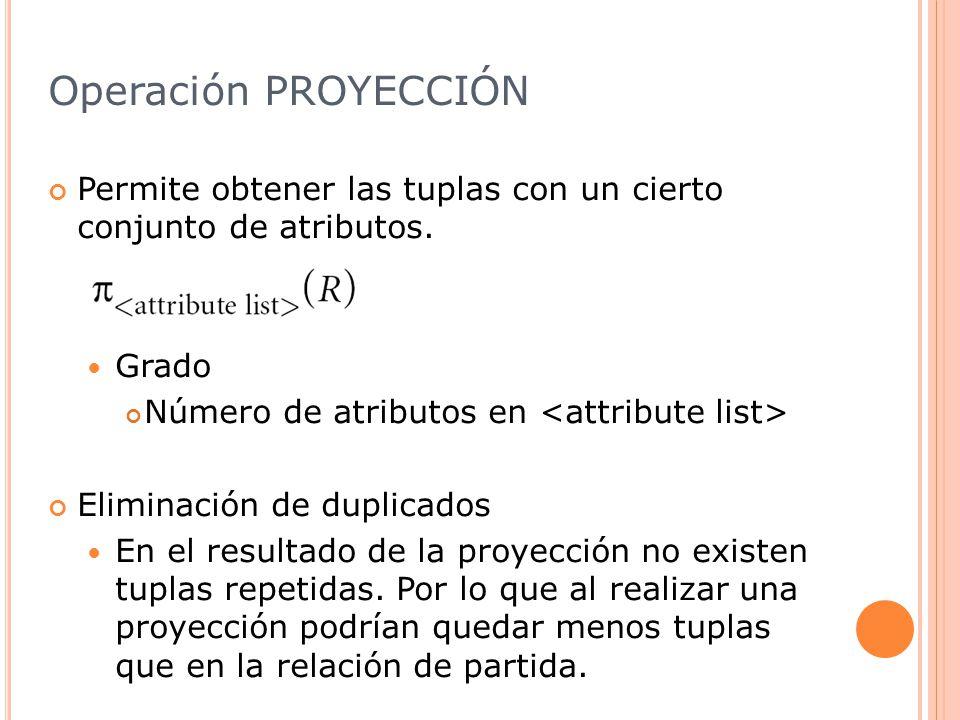 Operación PROYECCIÓN Permite obtener las tuplas con un cierto conjunto de atributos.