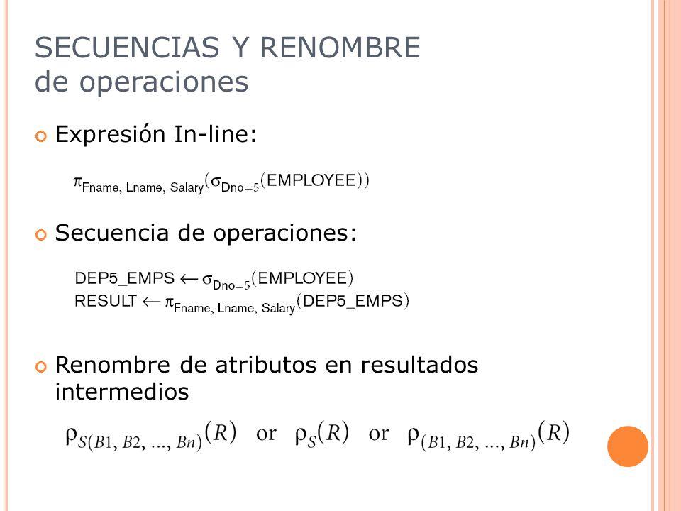 SECUENCIAS Y RENOMBRE de operaciones Expresión In-line: Secuencia de operaciones: Renombre de atributos en resultados intermedios