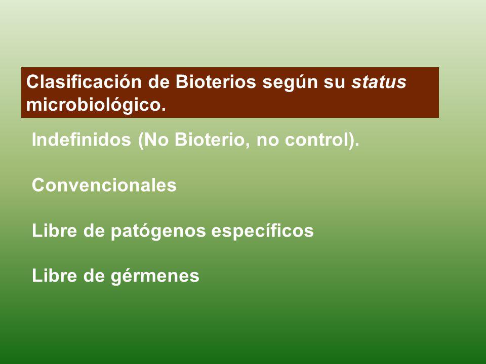 Clasificación de Bioterios según su status microbiológico. Indefinidos (No Bioterio, no control). Convencionales Libre de patógenos específicos Libre