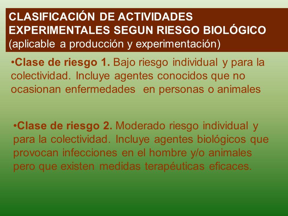 CLASIFICACIÓN DE ACTIVIDADES EXPERIMENTALES SEGUN RIESGO BIOLÓGICO (aplicable a producción y experimentación) Clase de riesgo 1. Bajo riesgo individua