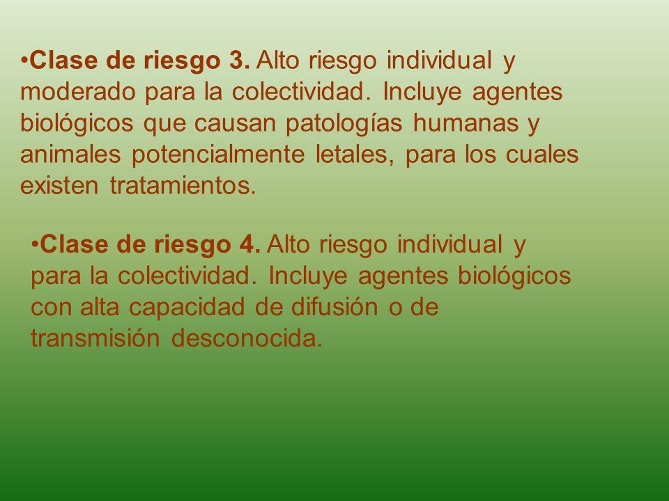 Clase de riesgo 3. Alto riesgo individual y moderado para la colectividad. Incluye agentes biológicos que causan patologías humanas y animales potenci