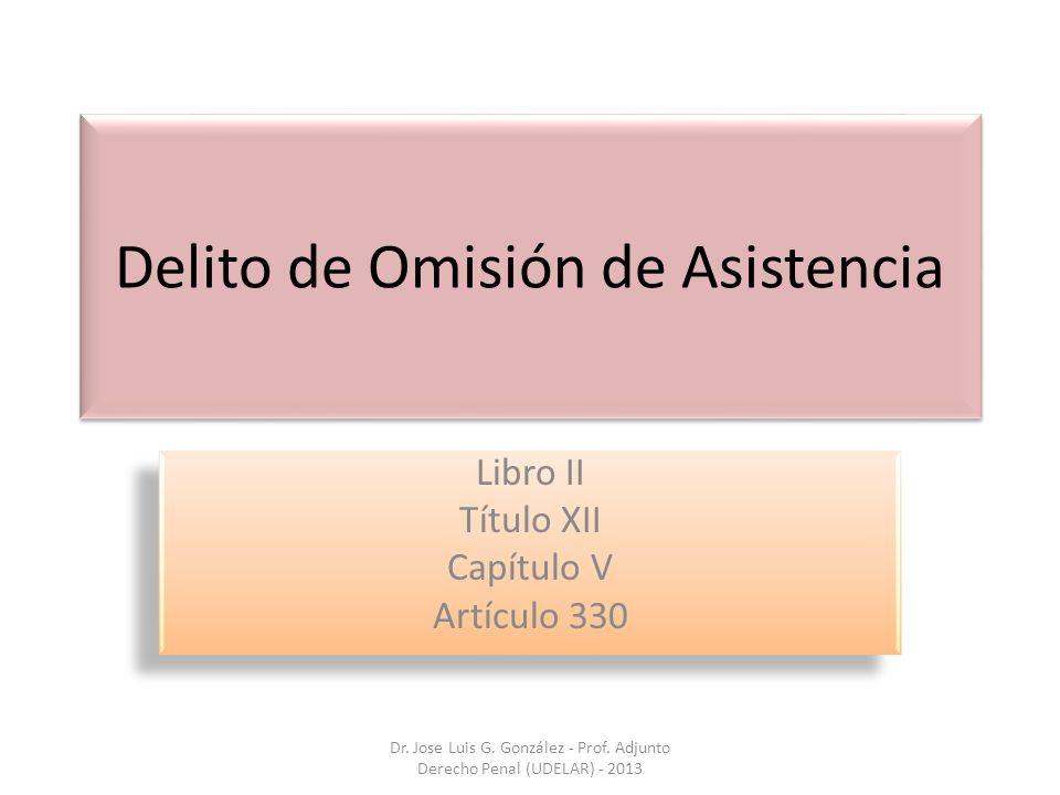 Delito de Omisión de Asistencia Libro II Título XII Capítulo V Artículo 330 Libro II Título XII Capítulo V Artículo 330 Dr. Jose Luis G. González - Pr